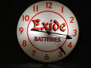 Vintage Exide Batteries Lighted Pam Advertising Clock Sign Automobilia Parts Car