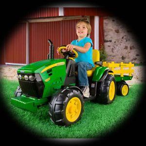 John Deere Electric Power Wheels Battery Powerwheels Toy Car Tractor Trailer New