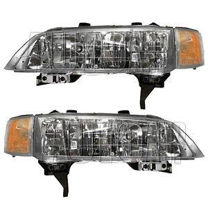 New Pair Set Headlight Headlamp Lens Housing Assembly SAE Dot 94 97 Honda Accord