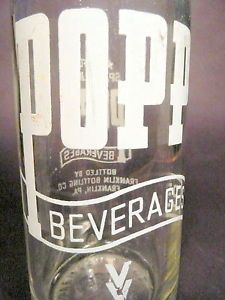 Vintage ACL Soda Bottle Popp Beverages of Franklin PA 10 oz Vintage ACL