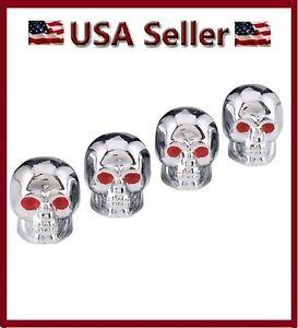 4 Chrome Skull Head Valve Stem Caps Motorcycle Car Truck SUV Bike Tire Air Cover