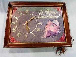 Vintage Mirrored Clock Advertising Dr Pepper King of Beverages Sign
