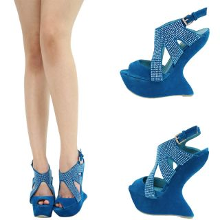 Teal Blue Peep Toe Rhinestone Jeweled Mary Jane High Heel Less Wedge Pump Sandal