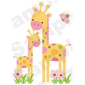Mod Giraffe Wall Mural Decals Baby Girl Nursery Kids Room Jungle Stickers Decor