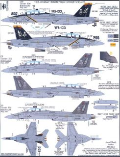 Fightertown Decals 1 144 F A 18 Super Hornet VFA 103 Jolly Rogers First Cruise
