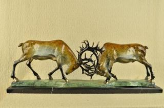 Bronze Statue Two Elk Stag Buck Deer Fighting Sculpture Signed Original Large