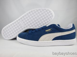 d71f1671f8cf17 ... Puma Suede Classic Eco Ensign Navy Blue White Skate Fat Laces Mens All  Sizes ...