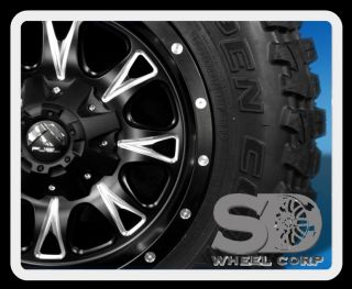 """17"""" Wheels Rims Fuel Off Road Throttle with 295 70 17 Toyo Open Country MT Tires"""