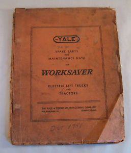 Vintage Yale Worksaver Electric Lift Trucks Parts Maintenance Service Manual