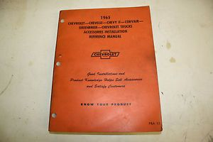 1965 Chevrolet Car Truck Accessories Installation Reference Manual