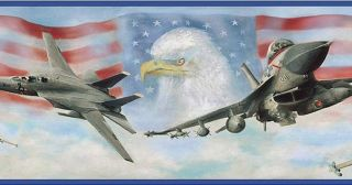 Wallpaper Border Air Force Jet Fighters American Flag Eagle with Blue Trim