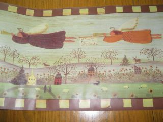Primitive Country Flying Angels Wallpaper Wall Border Brown Beige Trim EH00062