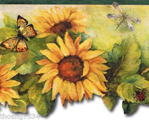 Sunflower Butterfly Dragonfly Ladybug Laser Die Cut Green Trim Wall Paper Border