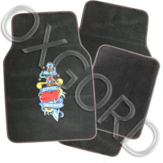 4 PC Set Death Before Dishonor Red Heart Tattoo Car Carpet Floor Mats Front Rear