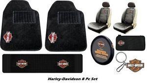 Harley davidson floor mats harley davidson carpeted 8pc floor mats seat covers car interior gift set tyukafo