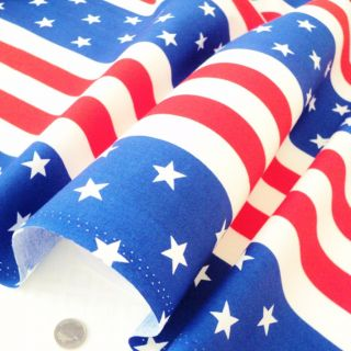 FQ Stars and Stripes American Flag USA Cotton Fabric Red White Blue