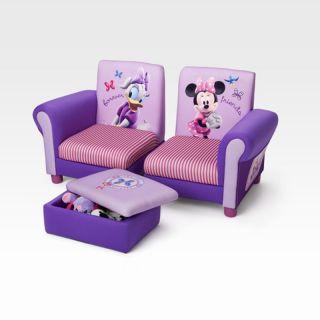 Disney Minnie Mouse Little Girls Children's 3 Piece Arm Chairs Sofa Toy Box Set