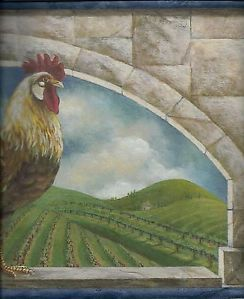 Rooster Rises in The Tuscan Valley Topiaries Blue Trim Wallpaper Border