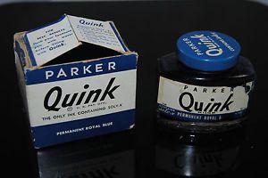 """Vintage Parker """"Quink"""" 2oz Ink Bottle and Box"""