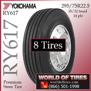 8 Tires Yokohama RY617 22 5LP 295 75R22 5 Semi Truck Tires 225 Tires