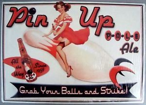 Pale Ale Beer Tin Metal Sign Bowling Ball Pin Up Girl New Bowl Bowler Strike