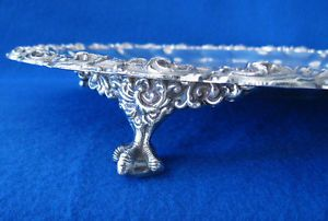 Gorgeous Antique Heavy Silver Plate Serving Tray w Eagle Talon Ball Claw Feet