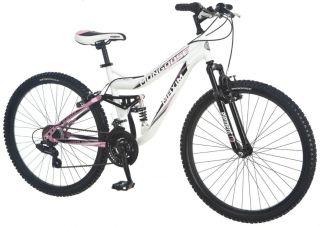 """Mongoose 26"""" Ladies Womens Maxim Full Suspension Mountain Bike Bicycle Whitepink"""