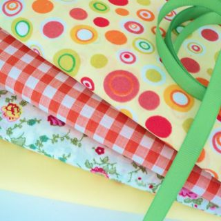 4 Metre Bundle Swirl Erin Orange PolyCotton Fabric Gingham Funky Floral Yellow