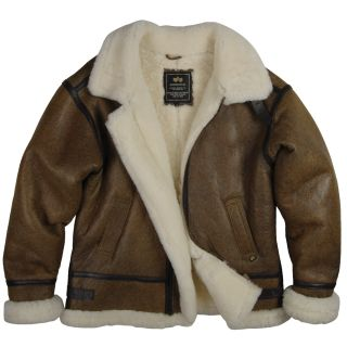 Alpha Industries B 3 Sherpa Air Force Leather Sheepskin Bomber Jacket Brown