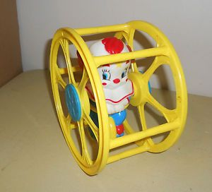 Vintage Larry Harmon LHPC Bozo The Clown in Wheel Roll Around Toy Great