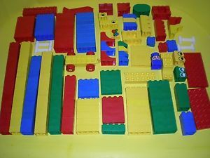 Large Mixed Lot of Lego Duplo Tyco Building Blocks 200 Pieces Train Fence Eye