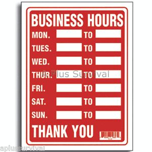 """Business Hours 9"""" x 12"""" Evacuation Safety Home Business Office Building Sign"""