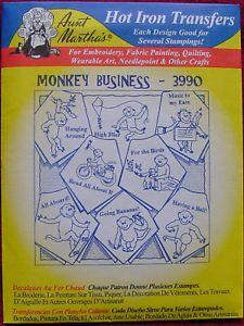 Monkey Business Hot Iron Transfer Pattern Embroidery