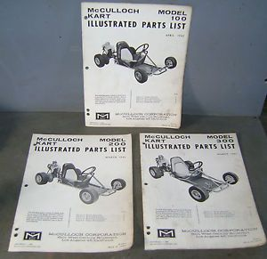Vintage Go Kart 1962 McCulloch Model 100 200 300 Parts Lists Frame Engine Mount