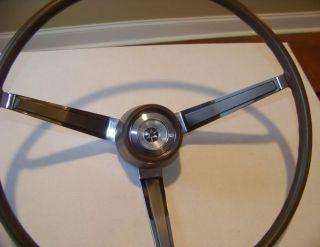 1966 1967 Mopar B Body Dodge Charger Coronet R T Woodgrain Steering Wheel w Horn