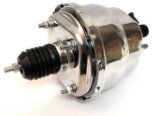 "GM Chevy Universal Hot Rod 7"" Dual Diaphragm Vacuum Power Brake Booster Chrome"