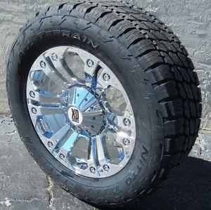 """20"""" Chrome Monster Wheels Nitto Terra Grappler Tires Chevy Ford F150 GMC Sierra"""