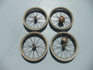 Four Antique Vintage Baby Stroller Carriage Pedal Car Wagon Tires Wheels