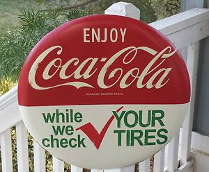 "Coca Cola Sign Vintage Design 24"" Bottle Coke Machine Auto Sign Check Tires"