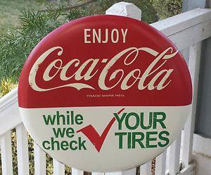 "Coca Cola Sign Vintage Design 24"" Bottle Coke Machine Auto Sign Check Tires"
