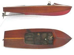 Vintage 1940's Morristown Mahogany Tether Race Speed Boat OK 60 Ignition Engine