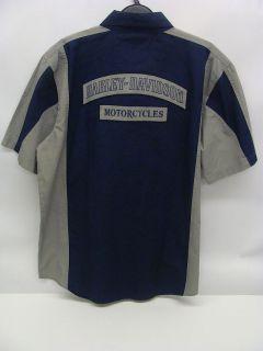 Harley Davidson Mens Garage Shirt Blue Grey