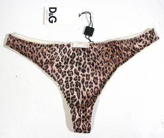 "Dolce Gabbana ""Mini Leo"" String Thong Tanga Leopard Satin Dessous Braun Neu"