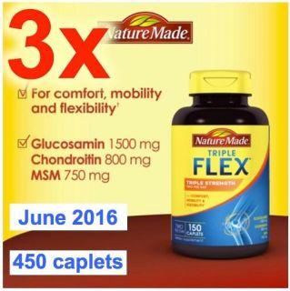 Nature Made Triple Strength Tripleflex Glucosamine Chondroitin MSM 3 x 150 450 031604011581