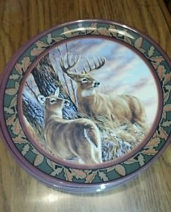 Whitetail Deer Buck Doe Melamine Dinnerware 8 Plates