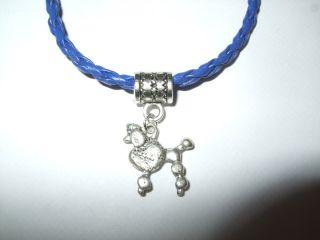 Handmade Poodle Dog Leather Bracelet with Charm Standard Miniature Blue or Pink