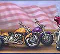 Harley Davidson American Flag Wallpaper Border GB9006 1