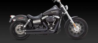 Vance Hines Black Big Shot Staggered Exhaust 4 Harley Davidson Dyna FXD 47935