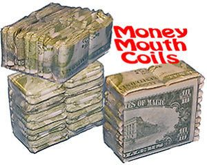 Dollar Bill Mouth Coils 10 Money Pack Paper Streamer Magic Trick Clown Set Gag