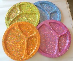 Set of 4 Zak Confetti Divided Dinner Plates Picnic Recycled Melamine